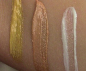 From left to right: Becca Shimmering Skin Perfector in Champagne Gold, Opal, and Pearl